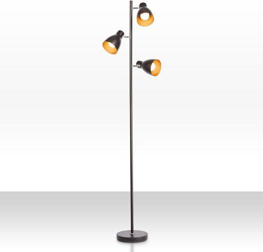 B.K.Licht Stehlampe, Stehleuchte, 3x schwenk- und drehbare Spots, E27 Fassung max. 25 Watt, Farbe: Schwarz/Gold