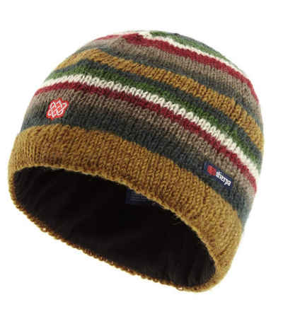 Sherpa Strickmütze »sherpa Pangdey Strick-Mütze handgestrickte Winter-Mütze Grobstrick-Mütze für Damen und Herren aus 100% Lammwolle One Size Braun/Grau/Rot«