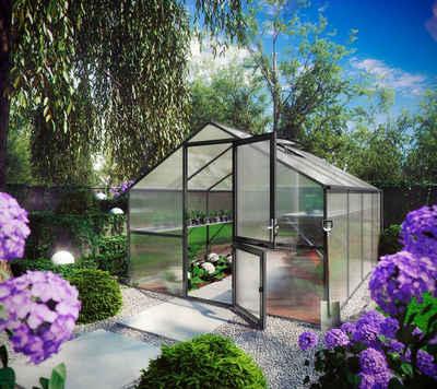 KGT Gewächshaus »Orchidee IV«, BxTxH: 297 x 429 x 233 cm, 10 mm Wandstärke, mit Regenrinne