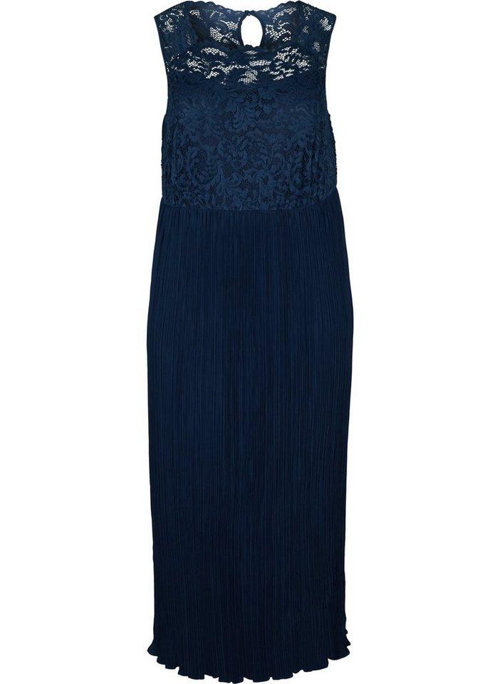 Festtagsmode - Zizzi Abendkleid Große Größen Damen Kleid mit Plissee, Spitze und Rundhals ›  - Onlineshop OTTO