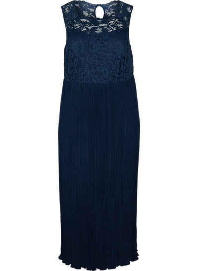 Zizzi Abendkleid Große Größen Damen Kleid mit Plissee, Spitze und Rundhals