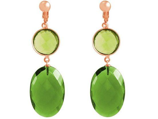 Gemshine Paar Ohrclips »Peridote und grüne Turmalin Quarze«, Made in Germany