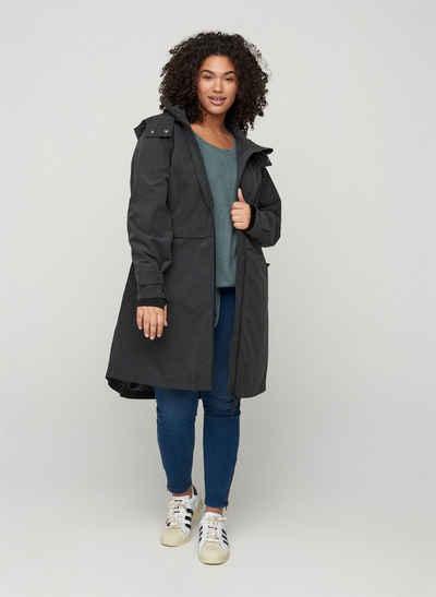 Zizzi Funktionsjacke Große Größen Damen Wasserdichte, atmungsaktive Jacke mit Reißverschluss und Kapuze