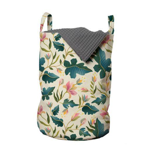Abakuhaus Wäschesack »Wäschekorb mit Griffen Kordelzugverschluss für Waschsalons«, Blumen tropische Blätter