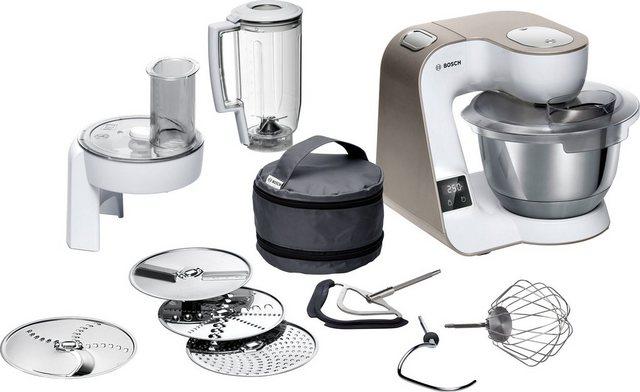 BOSCH Küchenmaschine MUM5XW20 MUM5, 1000 W, 3,9 l Schüssel, integrierte Waage, Profi-Patisserie-Set, Durchlaufschnitzler, 3 Reibescheiben, Mixer, weiss champagner
