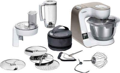 BOSCH Küchenmaschine MUM5XW20 MUM5, 1000 W, 3,9 l Schüssel, integrierte Waage, Profi-Patisserie-Set, Durchlaufschnitzler, 3 Reibescheiben, Mixer, weiß/champagner