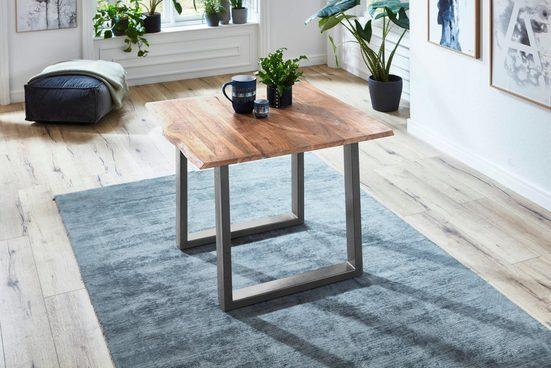 Junado® Baumkantentisch »Noah«, Akazie Massivholz naturfarben 26mm natürliche Baumkante