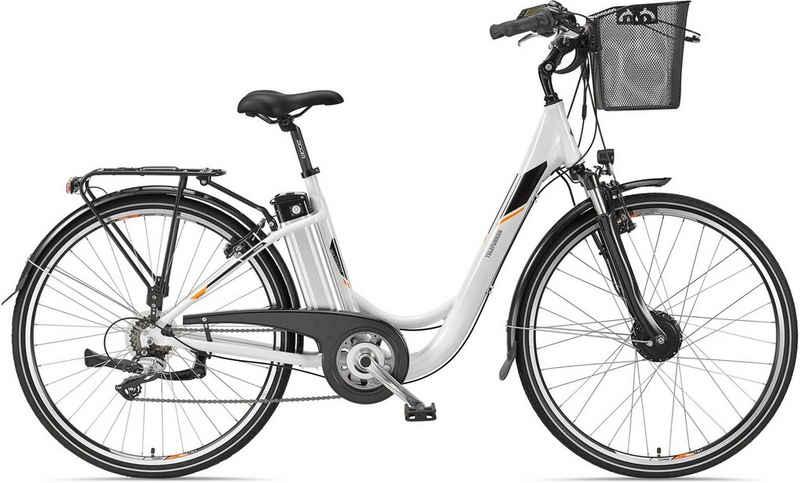 Telefunken E-Bike »Multitalent RC820«, 7 Gang Shimano Acera Schaltwerk, Frontmotor 250 W, mit Fahrradkorb