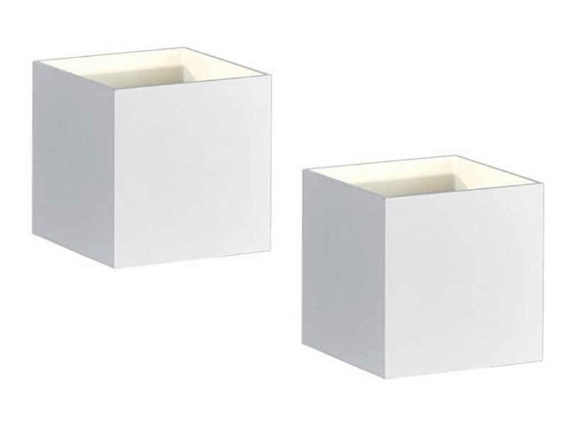 meineWunschleuchte LED Wandstrahler, innen, 2er Set im Bauhaus-Stil, Up and Down, einflammig, Weiß matt, Kleiner Lampen-Würfel