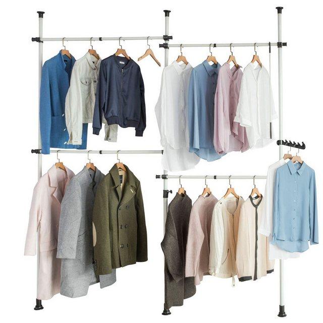 Kleiderständer und Garderobenständer - SoBuy Kleiderständer »KLS03«, Garderobenständer mit 4 Kleiderstangen Verstellbares Regalsystem  - Onlineshop OTTO