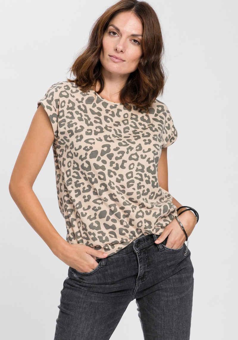 Boysen's Rundhalsshirt Boysen's T-Shirt mit überschnittenen Schultern & all over Druck