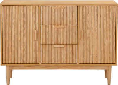 COUCH♥ Sideboard »Rund machen«, Lamellen Optik, viel Stauraum, Breite 120 cm