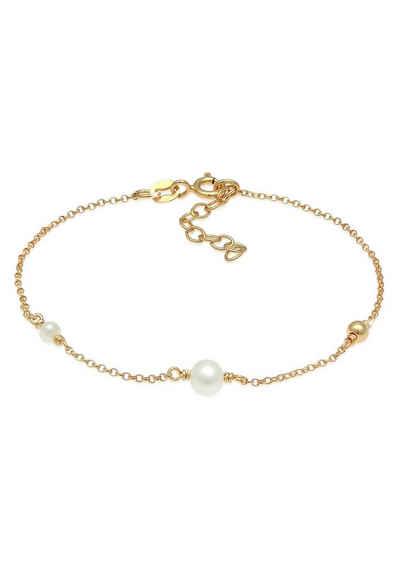 Elli Perlenarmband »Perlen Süsswasserperlen Kugel 925 Silber vergoldet«