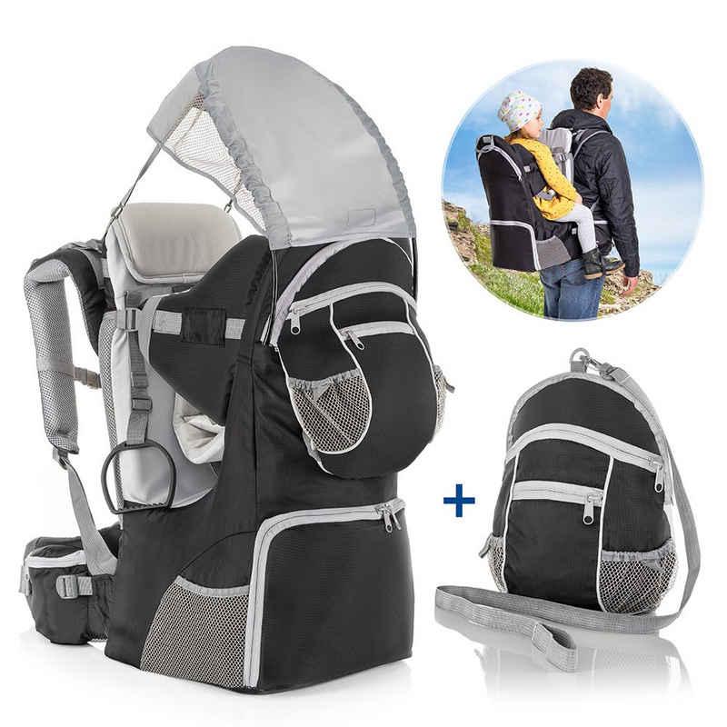 Fillikid Babytrage »Grau«, Rückentrage für Baby und Kleinkind Rücken Babytrage mit Sonnenschutz, Gurt und Zubehör Kraxe zum Wandern bis 18 kg