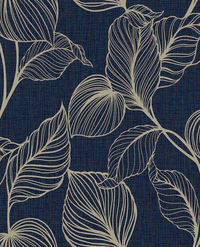 Boutique Vliestapete »Royal Palm«, botanisch, (1 St), Dunkelblau - 10mx52cm