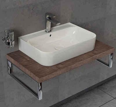 Aqua Bagno Aufsatzwaschbecken »Keramik Waschtisch Waschbecken Aufsatz Wandmontage« (Packung)