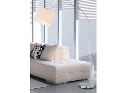 meineWunschleuchte LED Bogenlampe, Designer Bauhaus Lampe, Lampenschirm-e Stoff, Weiß, Große Bogen Stehlampe, mit Fußschalter