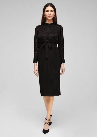 soliver black label minikleid »chiffonkleid mit plissees