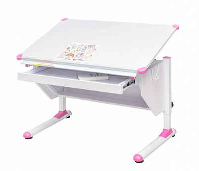 Trendmöbel24 Kinderschreibtisch »Kinderschreibtisch VARIANT mit Schublade weiß verstellbar Grau + Pink«