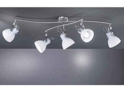 meineWunschleuchte LED Deckenstrahler, Designer Retro Decken-Lampen im Industrial Style in Silber, mehrflammig, Lampen-Schirm Opal-Glas schwenkbar, Treppenhaus