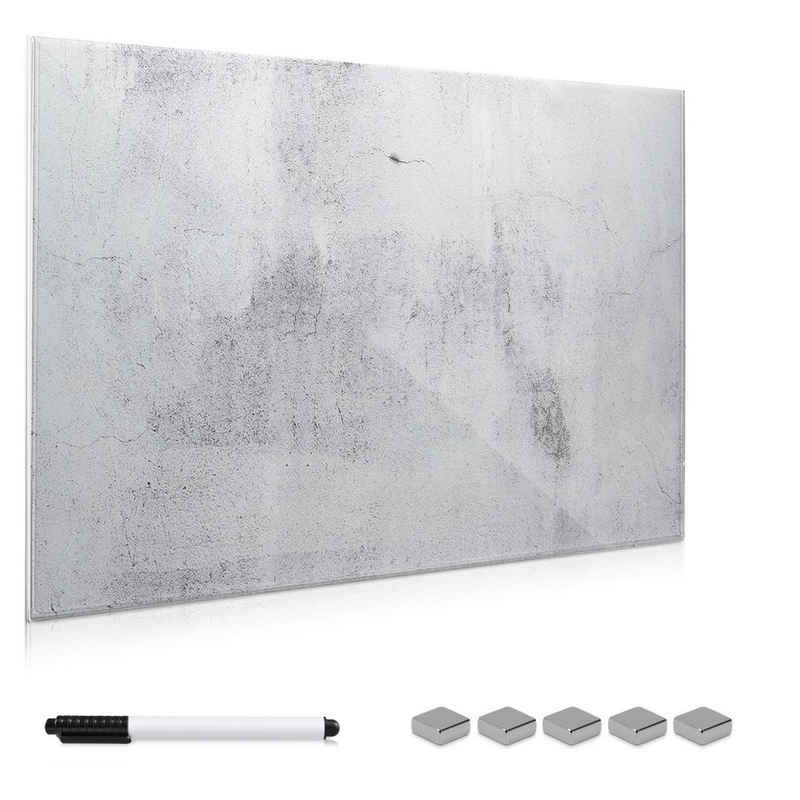 Navaris Memoboard, Memoboard aus Glas - Magnetwand 60x40 cm zum Beschriften - Magnetische Tafel inkl. Magnete Stift Halterung - Beton Optik Design