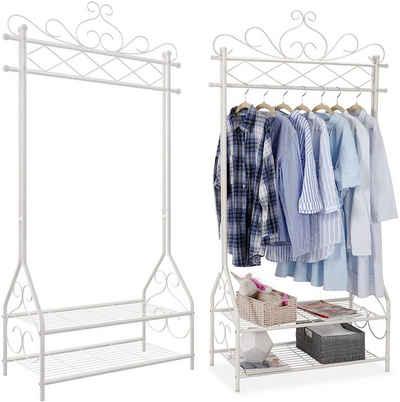SONGMICS Kleiderständer »HSR07W«, Garderobenständer mit Kleiderstange, 2 Ablagen, im Vintage-Stil, cremeweiß