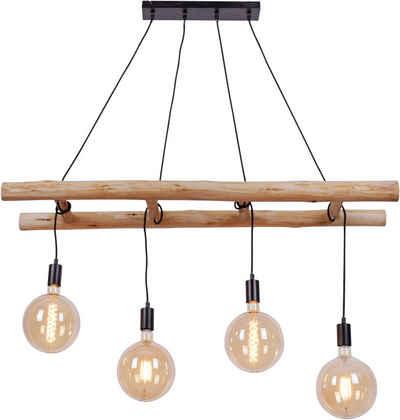 Home affaire Hängeleuchten »EDGAR«, Deckenlampe im modernen Industrial Stil, Leiter Optik, Kombination aus Holz und schwarz lackiertem Eisen, Abhängung verstellbar - Reutlinger Verschluss