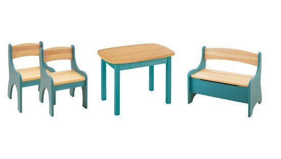BioKinder - Das gesunde Kinderzimmer Kindersitzgruppe »Levin«, mit Tisch, Sitzbank und zwei Stühlen, Sitzhöhe 30 cm