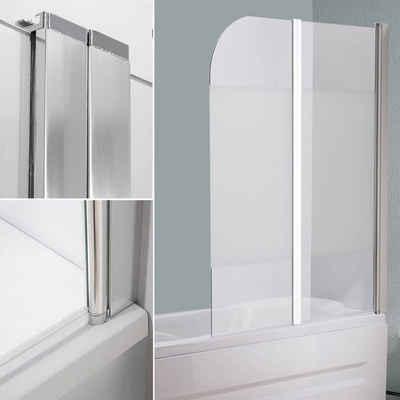 Mucola Badewannenaufsatz »Glas Badewannen Milchglas Duschabtrennung Badewannenfaltwand Satiniert Aufsatz«, (1 tlg), Links- oder rechtsseitig montierbar