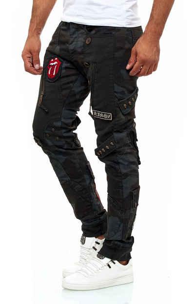 KINGZ Bequeme Jeans im stylischen Military-Look