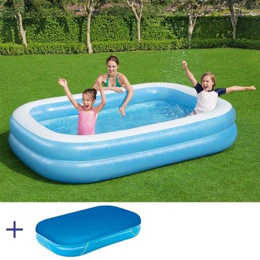BESTWAY Pool »BESTWAY Jumbo Pool Swimmingpool Planschbecken Kinderpool 262x175x51cm mit Cover«
