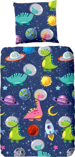 Kinderbettwäsche »Dinospace«, good morning, mit Dinosauriern