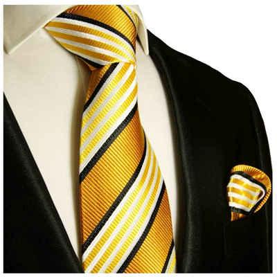 Paul Malone Krawatte »Moderne Herren Seidenkrawatte mit Tuch gestreift 100% Seide« (Set, 2-St., Krawatte mit Einstecktuch) Breit (8cm), gold orange 264