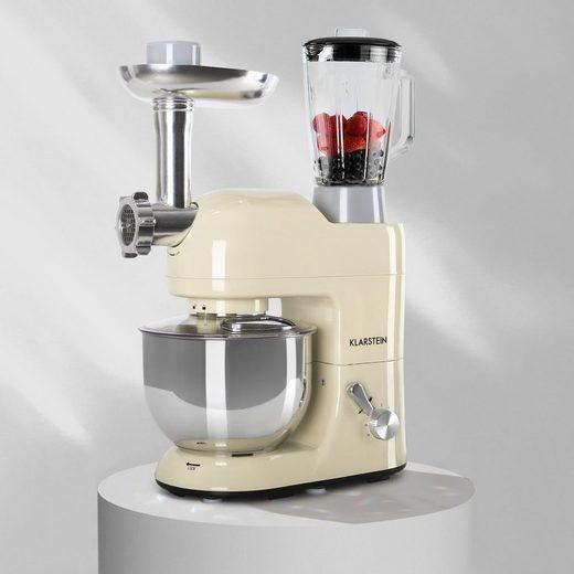 Klarstein Küchenmaschine Lucia Küchenmaschine 3-in-1 2000 W / 2,7 PS 5 Ltr Edelstahl BPA-frei, 1300 W, 5 l Schüssel