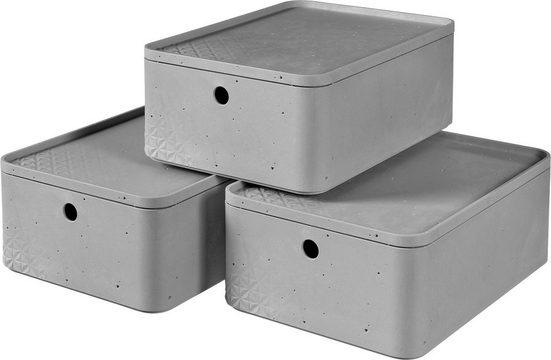 Curver Aufbewahrungsbox »BETON M« (Set, 3 Stück), stapelbar, je 8 Liter