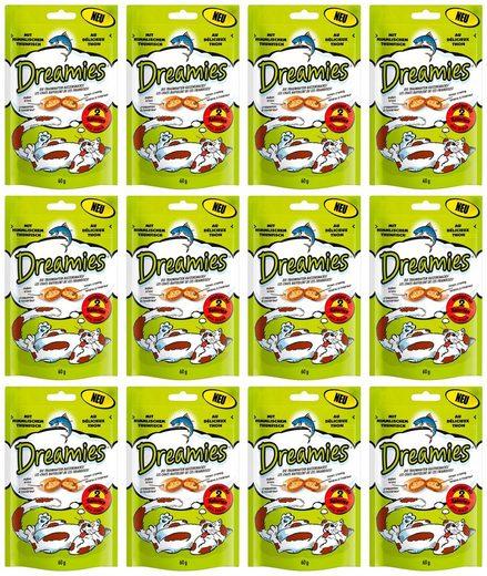 Dreamies Katzensnack »Thunfisch«, 12 Beutel á 60 g