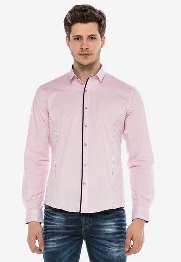 Schlussverkauf Cipo & Baxx Langarmhemd »MARCO« mit Kontrast-Saum und Knopfleiste