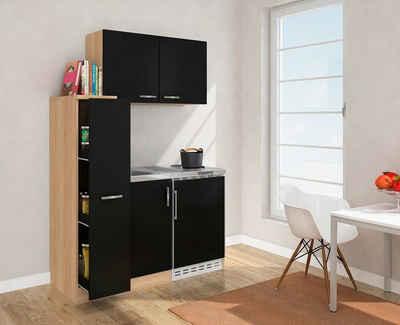 RESPEKTA Küchenzeile, mit Duo-Kochplattenmulde und Kühlschrank, Breite 130 cm