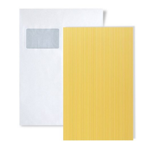 Edem Papiertapete »S-598-21«, gestreift, matt, unifarben, (1 Musterblatt, ca. A5-A4), gelb, safran-gelb, ginster-gelb