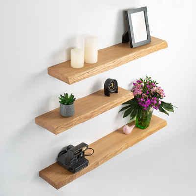 Rikmani Wandregal »Holz Eiche massiv - Handgefertigtes Regal mit Baumkante Bücherregal Holzregal Wandboard LEO«