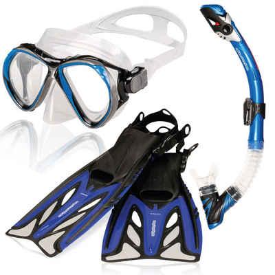 AQUAZON Taucherbrille »AQUAZON MARLIN Hochwertiges Schnorchelset, Tauchset, Schwimmset, Schnorchelbrille Tempered Glas, verstellbare Flossen, Schnorchel mit Dry top, Silikon, Erwachsene, Senior«