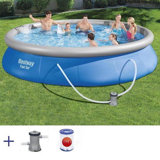 BESTWAY Pool »Bestway Fast Set Pool Swimmingpool Rundpool mit Filterpumpe Filter 457x84cm«