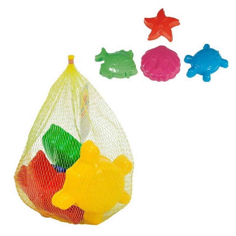 SIMBA Sandform-Set »4 Sandformen im Netz«, verpackt, Muschel, Fisch, Schildkröte und Seestern