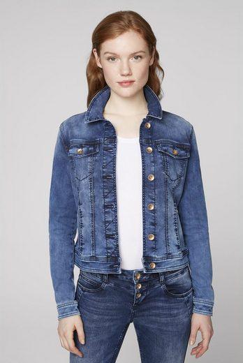 SOCCX Jeansjacke mit Knopfriegel hinten am Saum