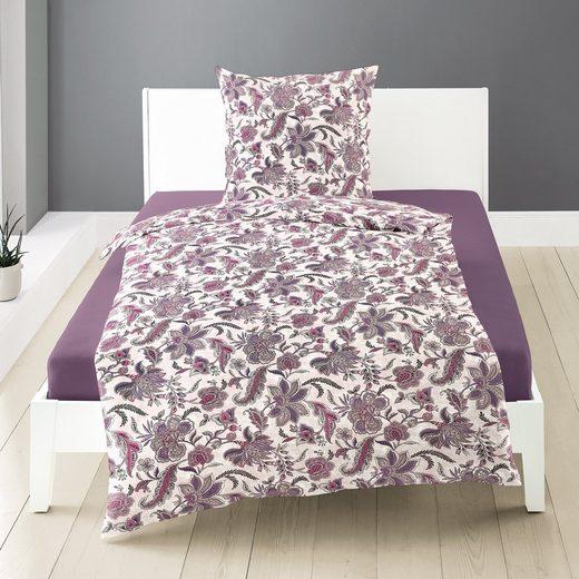 Bettwäsche »Jersey«, Traumschloss, Ornamente aus Blumen in lila, violett