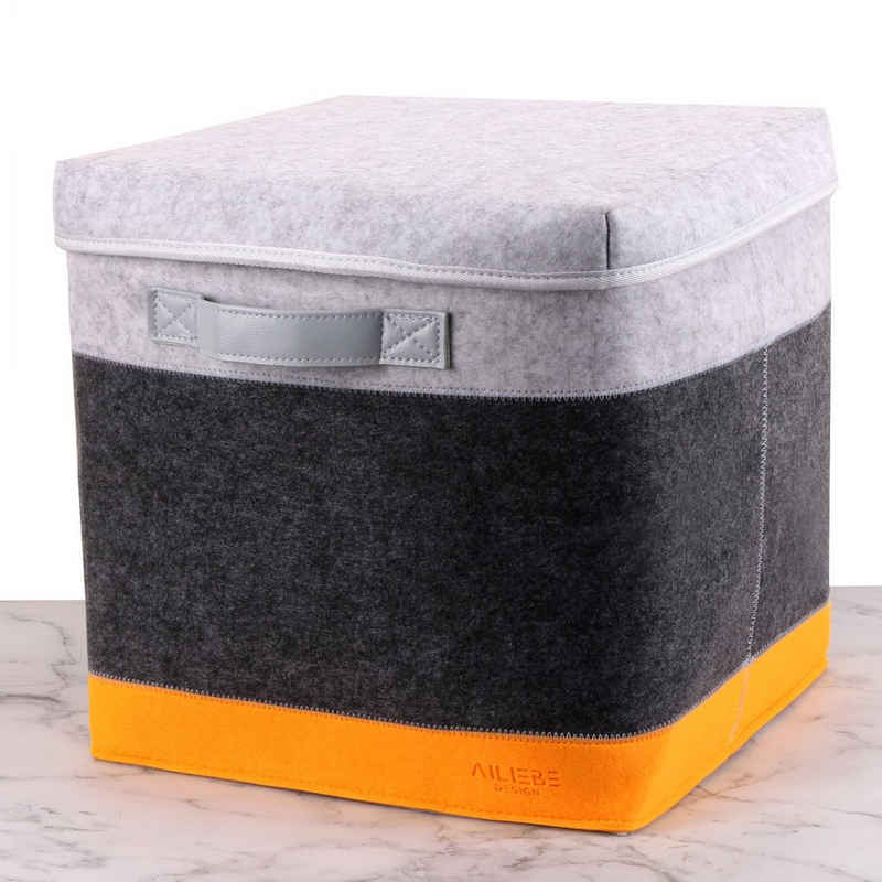 Ailiebe Design Aufbewahrungsbox, 33x33x33cm Filz mit Deckel Kinder Spielzeugkiste