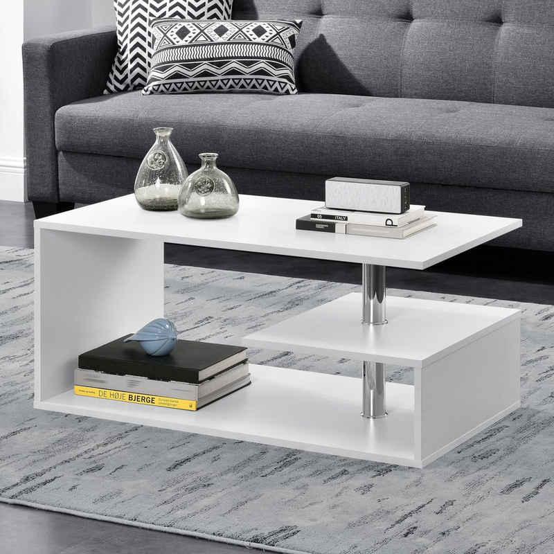 en.casa Couchtisch, »Haarlem« Beistelltisch mit Ablagefach 90x50x41cm weiß
