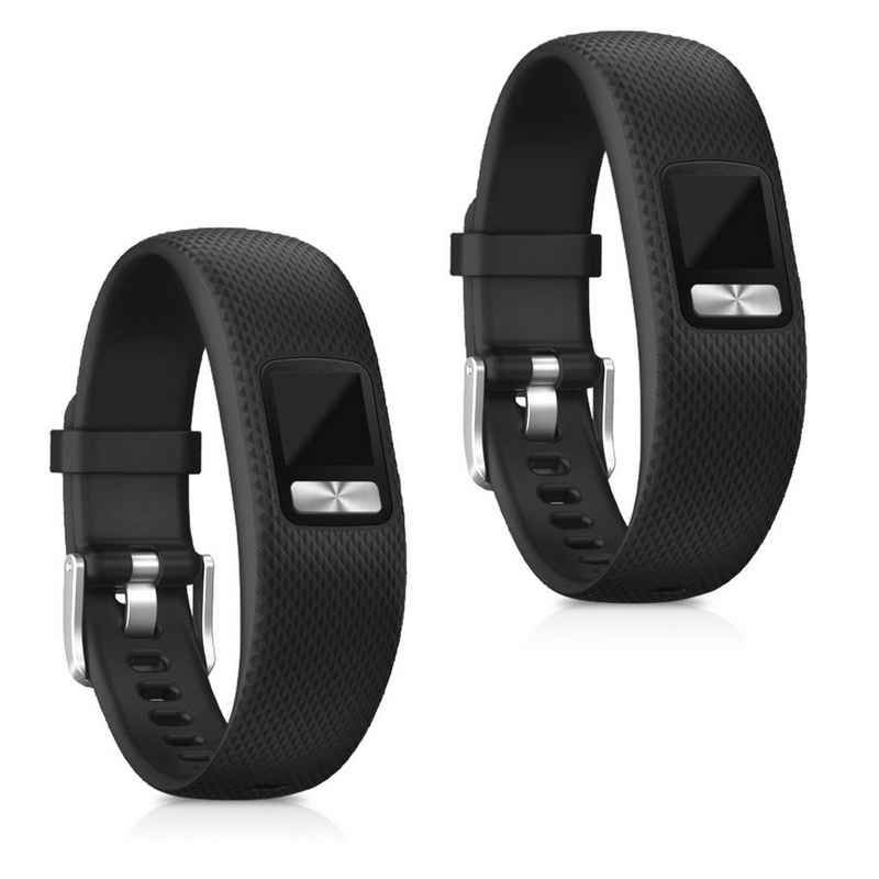 kwmobile Uhrenarmband, 2x Sportarmband kompatibel mit Garmin Vivofit 4 - Armband TPU Silikon Set Fitnesstracker