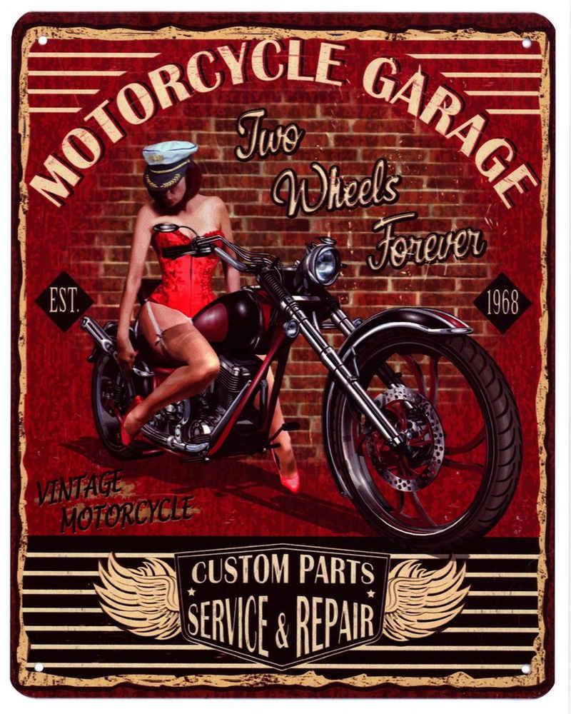 Moritz Metallschild »Blechschild Motorcycle Garage Two Wheels Forever«, 20 x 25cm Vintage Retro Deko Schild Metallschild Wandbild Wanddeko Schild Deko Spruch