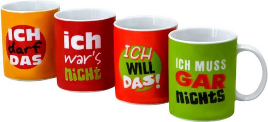Retsch Arzberg Becher »Machosprüche«, Porzellan, 4-teilig